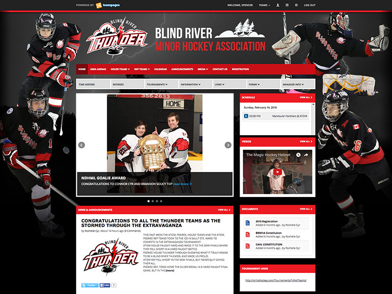TeamPages Sports League & Team Website Design Gallery