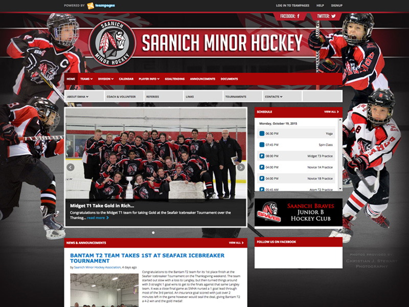 teampages sports league team website design gallery